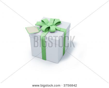 White Present Box With Green Ribbon