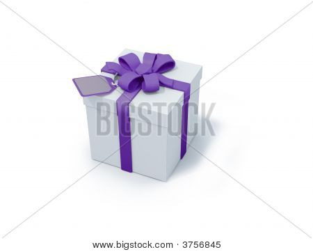 White Present Box With Purple Ribbon