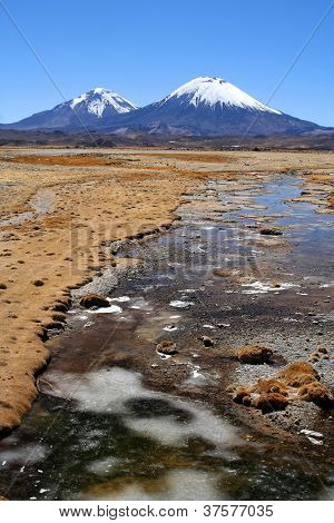 Snowcapped Parinacota volcano