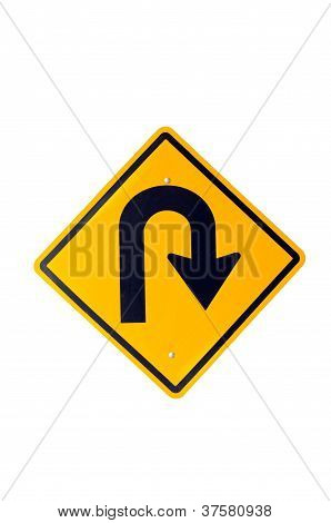 Traffic Road Sign With Isolated White Background