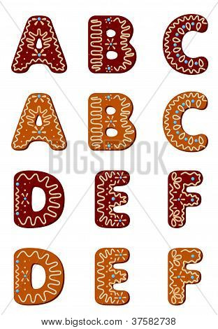 Gingerbread Alphabet From A To F