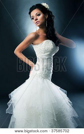 Pretty Disirable Bride - Photo Model In Wedding White Dress