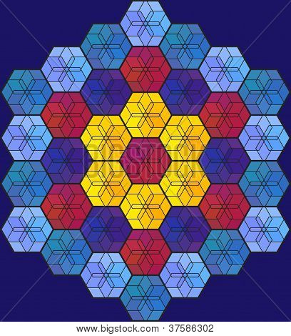 Blue Hexagonal Stained-glass Window
