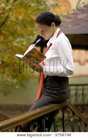 Businesswoman With Notebook Outside