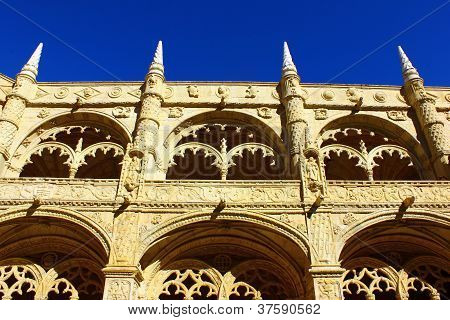 Detail of the cloister of the portuguese Hieronymites Monastery at Lisbon