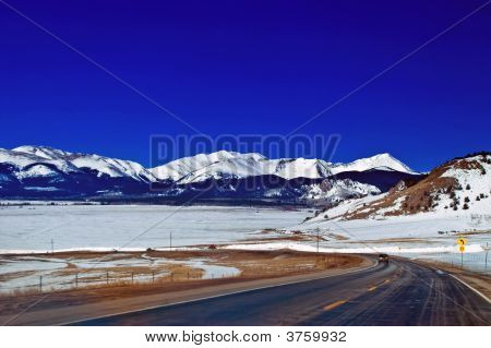Winter Mountain Road In Colorado