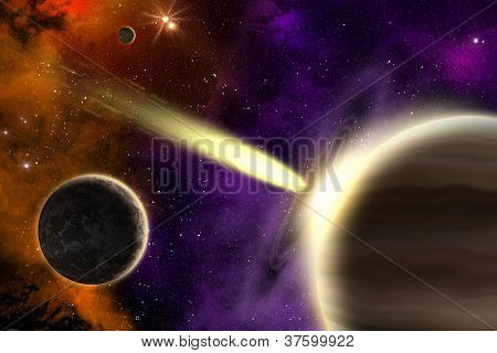 Gas Giant Planet And Comet