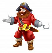 stock photo of buccaneer  - Illustration of a happy smiling pirate with a hook and eye patch and skull and crossed bones on his pirate hat - JPG