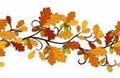 Horizontal seamless pattern with autumn oak leaves. Vector illustration.