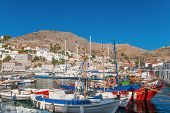 pic of hydra  - Morning view of the port of the island of Hydra Greece - JPG