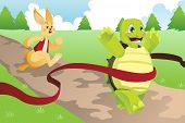 picture of the hare tortoise  - A vector illustration of tortoise and hare racing - JPG