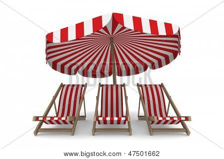 Three deckchair and parasol on white background. Isolated 3D image