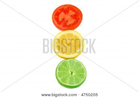 Slices Of Tomato, Lemon And Lime With Clipping Path.