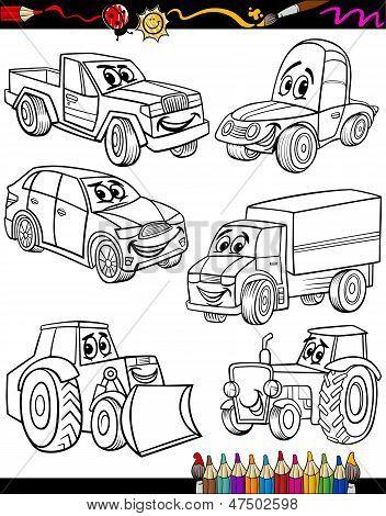 Cartoon-Fahrzeuge-Set für Malbuch
