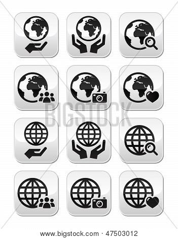 Globe earth with hands vector icons set with reflection
