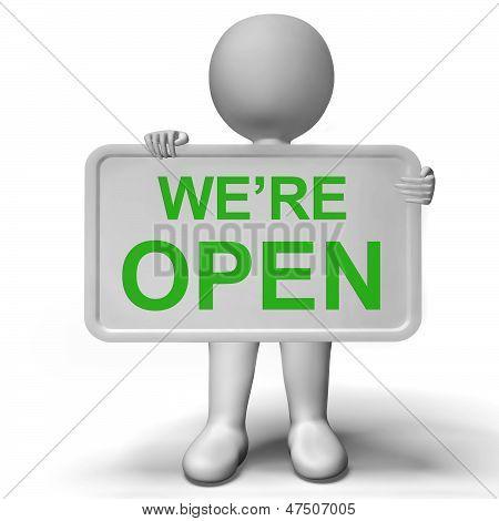 Wir sind offene Schild mit neuen Store Launch
