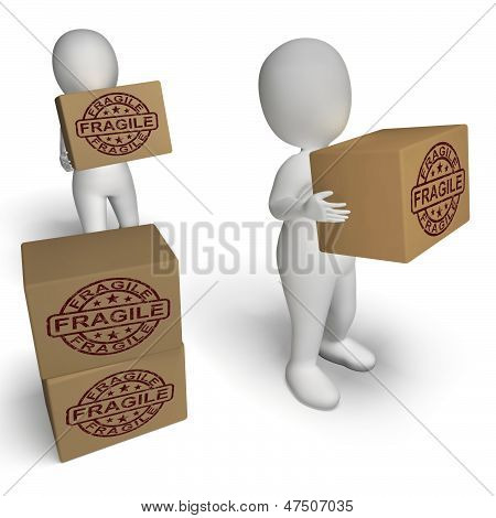 Fragile Stamp On Boxes Showing Breakable Or Delicate Products