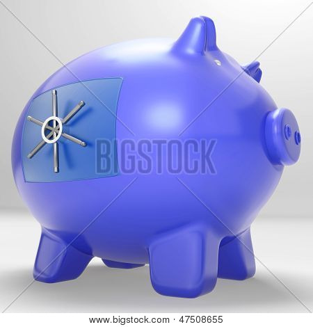 Safe Piggybank Shows Savings Cash Protected Secured