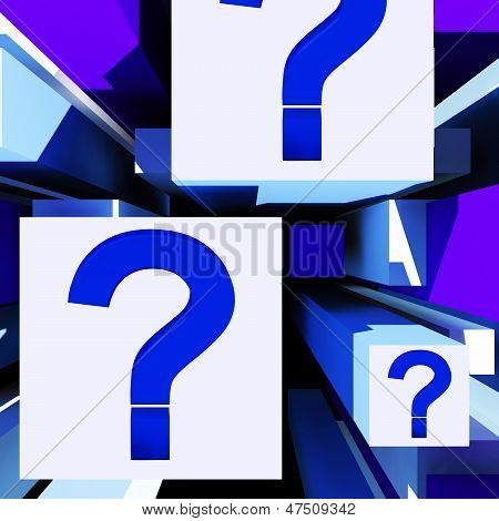 Question Mark On Cubes Shows Uncertainty