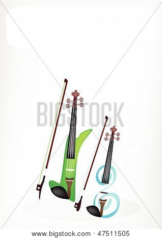 Two Beautiful Modern Violins With A White Banner
