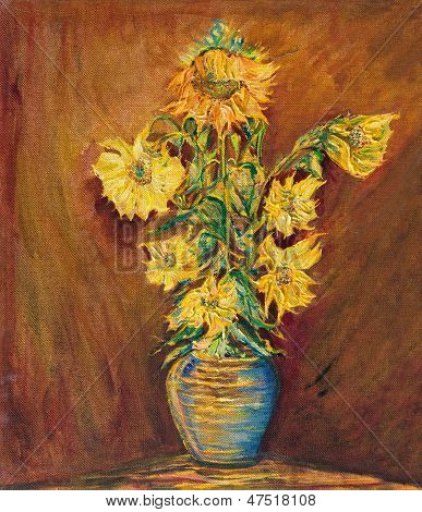 Colorful Sunflowers Bouquet on brown background