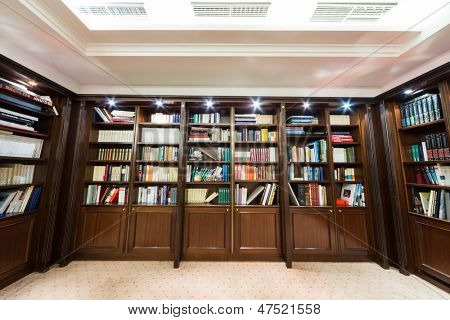 MOSCOW - DEC 6:  Library with bookcase at the Baltschug Kempinski Moscow Hotel on December 6, 2012 in Moscow, Russia.