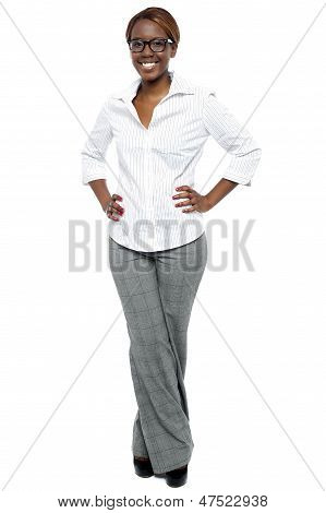 Elegant Entrepreneur Posing With Hands On Her Waist