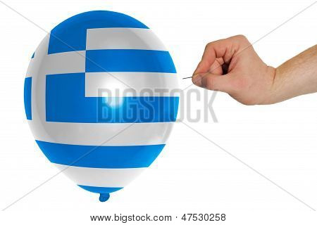 Bursting Balloon Colored In  National Flag Of Greece