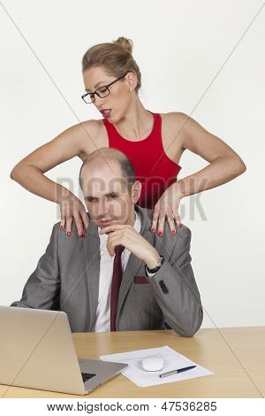 Sexy Secretary Making A Massage To Her Boss