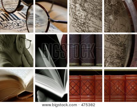 Bibliothek-Collage