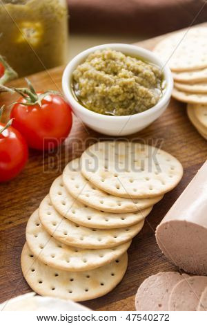 Green Olive Pate And Crackers