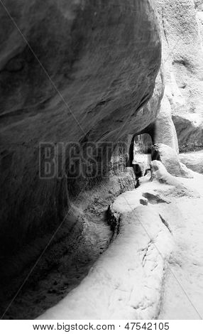 Water channel carved in the walls of Siq in Petra, Jordan