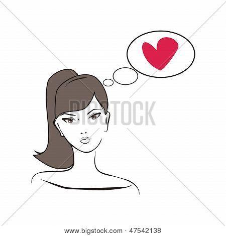 Young, vetor mão desenhada glamour, pensando menina apaixonada por cabelo castanho e coração