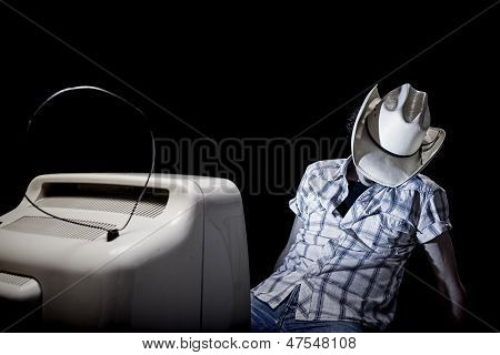 Lonely Tv Man Cowboy Sleep