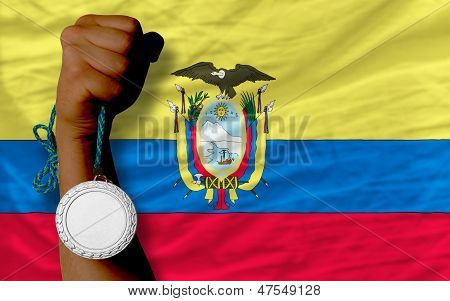 Silver Medal For Sport And  National Flag Of Ecuador