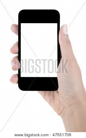 Hand Holding Blank Screen Mobile Phone