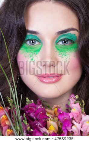 Close Up Portrait Of A Brunette Woman