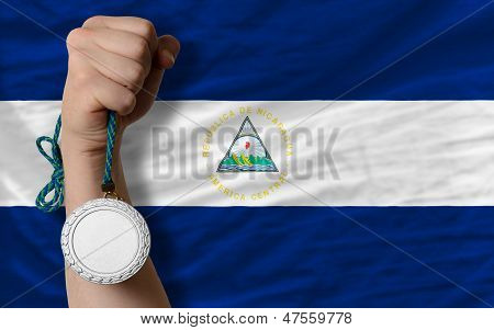 Silver Medal For Sport And  National Flag Of Nicaragua