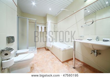 Light and empty bathroom with white bath, toilet and shower cabin.