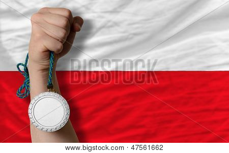 Silver Medal For Sport And  National Flag Of Poland