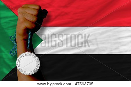 Silver Medal For Sport And  National Flag Of Sudan