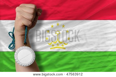 Silver Medal For Sport And  National Flag Of Tajikistan