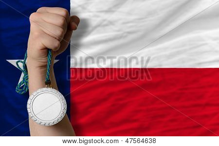 Silver Medal For Sport And  Flag Of American State Of Texas