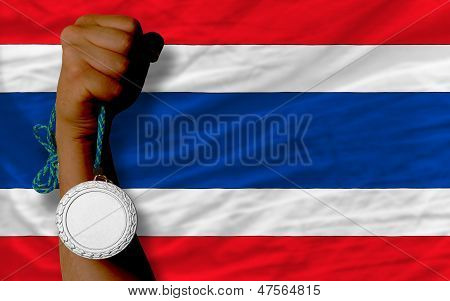 Silver Medal For Sport And  National Flag Of Thailand