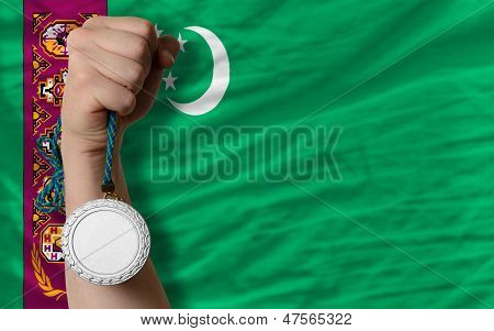 Silver Medal For Sport And  National Flag Of Turkmenistan