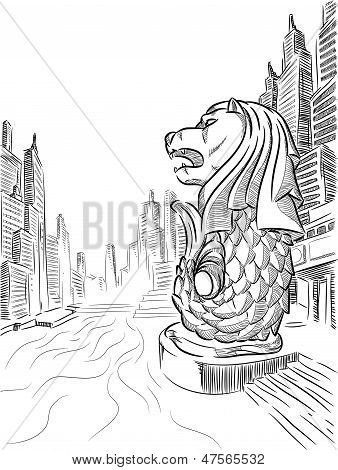 Sketch of Singapore Tourism Landmark - Merlion