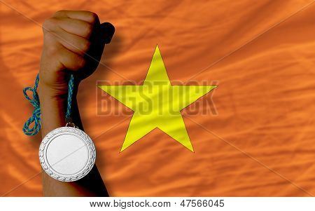 Silver Medal For Sport And  National Flag Of Vietnam
