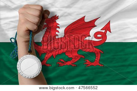 Silver Medal For Sport And  National Flag Of Wales