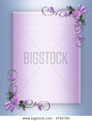 Wedding Invitation Border Lavender Roses