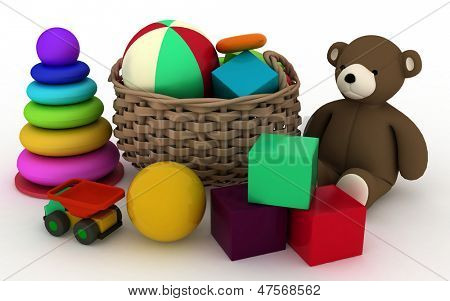3d render illustration of child's toys in a small basket